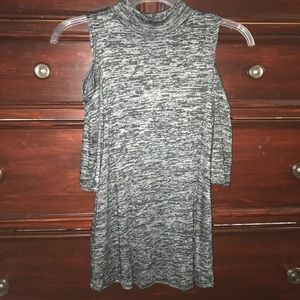 Black and Gray Cold Shoulder Mockneck Sweater